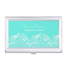 An Elegant And Feminine Aqua White Fl Victorian Lace Pattern Business Card Case Personalize