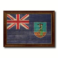 Montserrat Country Flag Texture Canvas Print, Custom Frame Home Decor Gift Ideas Wall Decoration