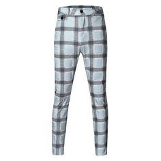 Plaid Skinny Hip Hop Pants NA01 – iawear Fall Pants, Plaid Pants, Slim Fit Pants, Loose Pants, Fashion Pants, Mens Fashion, Skinny Chinos, Plus Size Winter, Men Casual