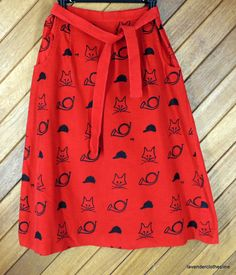 The Vested Gentress Hand Screened Corduroy Wrap Skirt Foxes Pockets