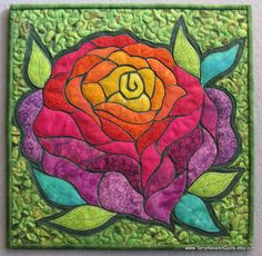 Rainbow Rose Mini Quilted Wall Hanging by TerryAskeArtQuilts