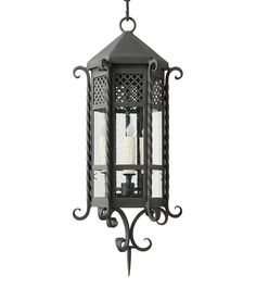 hand made wrought iron pendant light with clear seeded glass from