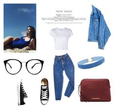 """""""denim"""" by belagreen ❤ liked on Polyvore featuring Topshop, PèPè, RE/DONE, Converse and Burberry"""