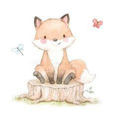 Fuchs Illustration, Cute Illustration, Character Illustration, Digital Illustration, Cute Animal Drawings, Cute Drawings, Nursery Prints, Nursery Art, Watercolor Animals