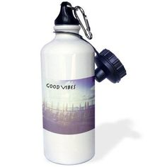 3dRose Good Vibes expression, sea side deck, ocean view, blue, white, purple, Sports Water Bottle, 21oz