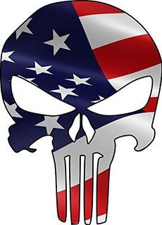 Punisher with American Flag waving sticker / decal Punisher Skull Decal, Punisher Stickers, Punisher Logo, American Flag Waving, American Flag Colors, Skull Stencil, Arte Robot, Skull Artwork, Skull Wallpaper