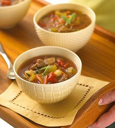 Combine extra-lean beef and turkey breast for low-fat, but beefy, satisfying flavor: http://www.bhg.com/recipes/healthy/heart-healthy/heart-healthy-soup-recipes-appetizer-recipes/?socsrc=bhgpin051914quickhamburgersoup&page=12