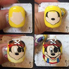 Pirate Mickey Tutorial Pirate Sister Pirate Mickey Report I . Disney Nail Designs, Nail Art Designs, Cute Nail Art, 3d Nail Art, Love Nails, Fun Nails, Nail Drawing, Korean Nails, Nails 2017