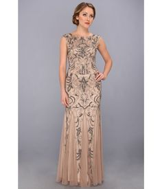 ADRIANNA PAPELL 091880660 Nude Buff Beaded Lace Evening Gown Dress Size 8 New  #AdriannaPapell #Formal