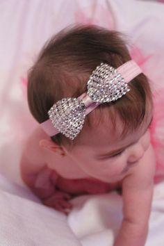 Elastic Headband with diamond bow
