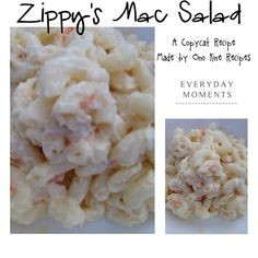 Zippy's Copycat Mac Salad Recipe Found recipe posted on: Cooking Hawaiian Style Made by: Ono Kine Recipes Ingredients: 1 small package small elbow macaroni 1 cup mayonnaise (best foods is best) 1 tablespoon finely minced onions 2 tablespoons finely minced celery 1 small carrot finely minced salt & pepper to taste.
