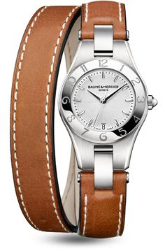 Discover the Linea 10036 Ladies steel and leather watch, with interchangeable straps, designed by Baume et Mercier, Swiss Watch Maker.
