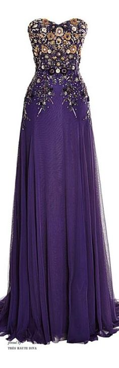Marchesa Violet Perfume Tulle Gown with Embroidered Bodice ♔ Resort 2015 by essie