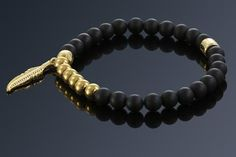 Black Onyx, Matte Black, Plating, Feather, Bracelets, Gold, Jewelry, Quill, Jewlery