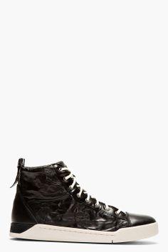 Diesel Black Leather Diamond High-top Sneakers for men | SSENSE