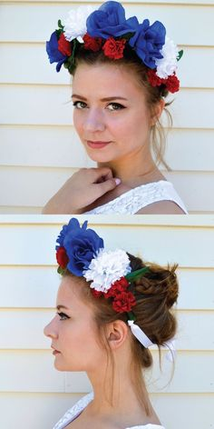 Check out How to Make a Flower Crown for the 4th of July!  By DIY Ready at http://diyready.com/how-to-make-a-flower-crown-pretty-flower-headbands/