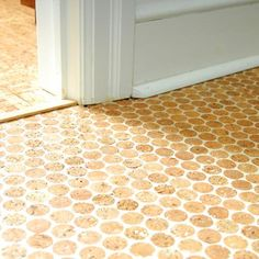 Often referred to as cork penny tiles or wine cork flooring, Cork Mosaic Tiles are made from recycled wine corks! Cork Flooring Kitchen, Brick Flooring, Plywood Floors, Flooring Ideas, Kitchen Backsplash, Cork Tiles, Mosaic Tiles, Bathroom Floor Coverings, Open Plan Kitchen Dining Living