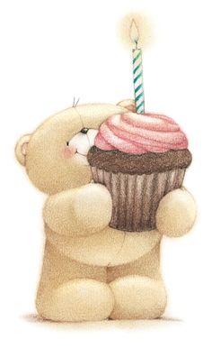 Happy Birthday bear w/cupcake Happy Birthday Bear, Happy Birthday Images, Happy Birthday Greetings, Birthday Pictures, Sister Birthday, Birthday Ideas, Birthday Cake, Illustration Mignonne, Hallmark Cards