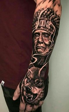 Animal Sleeve Tattoo, Skull Sleeve Tattoos, Best Sleeve Tattoos, Tattoo Sleeve Designs, Native Indian Tattoos, Indian Feather Tattoos, Native American Tattoos, Indian Headdress Tattoo, Tattoo Indian