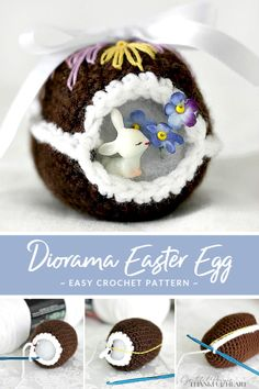 Crochet Chocolate Diorama Easter Egg Peek inside this sweet crocheted chocolate diorama Easter egg decorated with faux frosting and embroidered scrolls. Cute pattern for holiday décor tablescapes or filling Easter baskets. Easter Egg Pattern, Easter Crochet Patterns, Crochet Crafts, Easy Crochet, Crochet Toys, Crochet Ideas, Crochet Animals, Fabric Crafts, Easter Projects