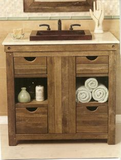 Rustikal Badezimmer Eitelkeit Rustic Bathroom Vanity Bathroom Rustic Bathroom Vanity is a design that is very popular today. Design is the search to make that make the house, so it looks modern. Country Bathroom Vanities, Modern Farmhouse Bathroom, Rustic Farmhouse, Farmhouse Small, Vanity Bathroom, Bath Vanities, Redo Bathroom, Country Bathrooms, Remodel Bathroom