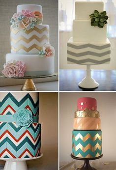 chevron cakes... top right with a red color flower/leaf... maybe a gradient of mint chevron on each layer