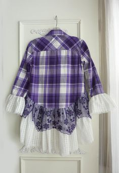 e from a gently used flannel shirt (Aeropostale brand) and woven white ruffle with purple organza lace! The top purple plaid shirt is cotton flannel. The white ruffle is also a lightweight woven cotton and the purple lace is probably nylon Festival Tops, Sewing Clothes, Diy Clothes, Umgestaltete Shirts, Flannel Shirts, Purple Plaid Shirt, Mode Plus, Shirt Refashion, Clothes Refashion