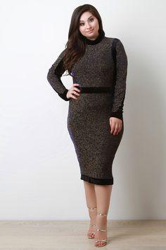Metallic Pinstriped Midi Dress