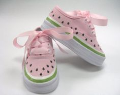 Watermelon Shoes, One in a Melon Hot Pink Sneakers Hand Painted for Baby and Toddlers, Birthday Party Shoes Watermelon Shoes One in a Melon Hot [. Cute Baby Shoes, Baby Girl Shoes, My Baby Girl, Girls Shoes, Baby Girls, Watermelon Shoes, Watermelon Birthday, Watermelon Baby, Baby Outfits