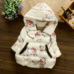 >> Click to Buy << new winter children outerwear coat floral printed cotton padded baby girls down jacket hooded thicken warm kids girl down&parkas #Affiliate