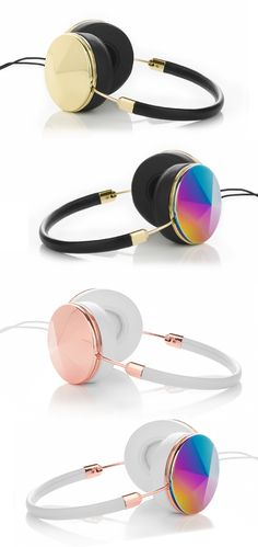 "#FRENDS Headphones in ""Taylor"" style - comes in Gold, Rose Gold & Oil Slick, with an additional 9 different cap sets to mix & match! Free US shipping when you shop now at: wearefrends.com <3"