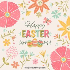 Cute floral Easter background Free Vector