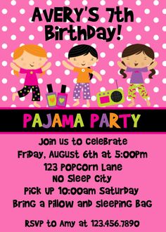 Pajama Party Invitations - too cute. I know I will be having a party like this sooner than I think. It even has the right name.