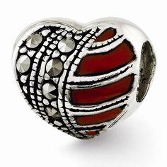 Reflection Beads: Sterling Silver Marcasite & Enamel Heart