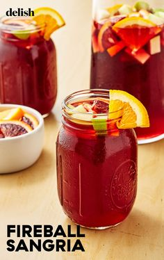 Kick your red wine sangria up a notch with some Fireball! #easy #recipe #red #delish Fruity Sangria Recipe, Sangria Punch, Cranberry Sangria, Red Sangria Recipes, Winter Sangria, Fireball Recipes, Red Wine Sangria, Alcohol Drink Recipes, Punch Recipes