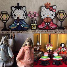Hello Kitty Hinamatsuri perler beads by hanio0821