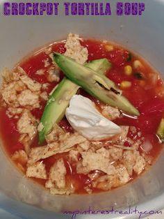 My Pinterest Reality: Healthy Eats Friday- Crockpot Tortilla Soup