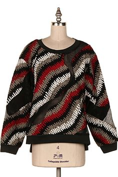 WAVE PRINT WOOL SWEATER.  #3A-T6085