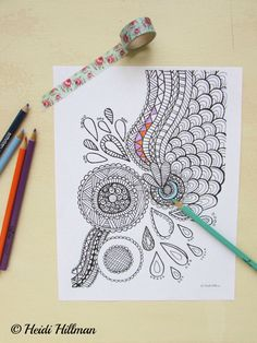Hand-drawn abstract doodle coloring page
