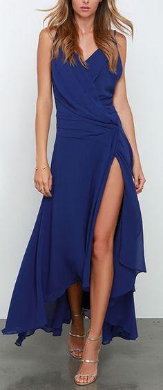 Royal blue split gown