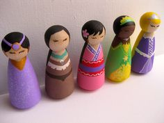 Princess Toy // Decoration // 3.5 inch Wooden Peg People.