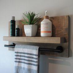 Wood Bathroom Shelves, Bathroom Shelves Over Toilet, Bathroom Niche, Bathroom Shelf Decor, Bath Shelf, Small Bathroom Storage, Bathroom Ideas, Rustic Bathroom Designs, Rustic Bathrooms