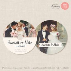Wedding dvd labels dvd label template cd by StudioStrawberry