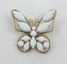 1c7b6ef927b Mothers Day SALE Authentic D&E aka Juliana White Milk Glass Butterfly Brooch