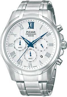 Pulsar Men's Chronograph Stainless Steel Bracelet Watch 43mm PT3399