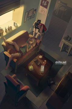 Lazy day - rough drawing for patreon by shilin.deviantart.com on @DeviantArt
