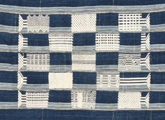Detail:  FR548 - This is the finest example among the small number of these rare cloths we have been able to find over the years, with two soft and subtle shades of indigo dyed hand spun local cotton used, neatly woven and well placed white weft float motifs, and most unusually, a subtle white stripe just visible in the weft. The irregular alignment of these faint stripes across the strips adds a layer of visual dynamism to the more static main design.