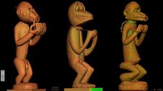 CT-scan of three Baule monkey figures (Gbekre), Ivory Coast Baule: African Art, Western Eyes (Yale University Press) Susan Mullin Vogel, 1997, p. 238