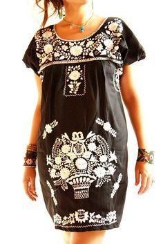 Obsidiana Mexican embroidered dress black w by AidaCoronado