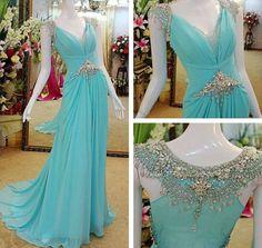 Evening Dresses, Prom Dresses,Party Dresses,Luxury Exquisite Cap Sleeves Beading Court-Train For women party gown, long prom dress, long evening dresses